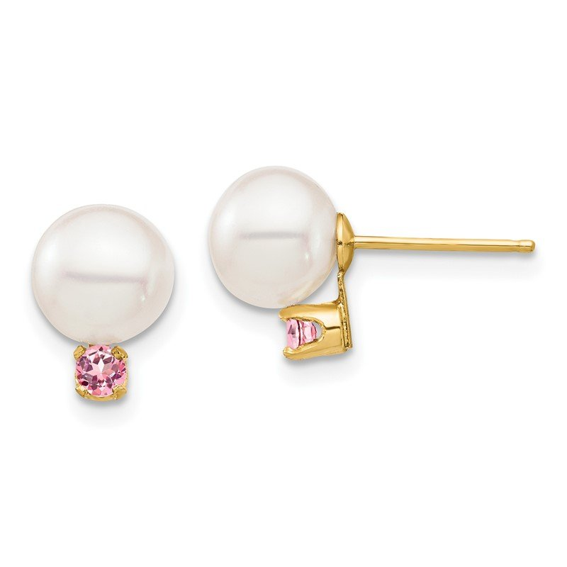 Quality Gold 14K 7-7.5mm White Round Freshwater Cultured Pearl Pink Topaz Post Earrings