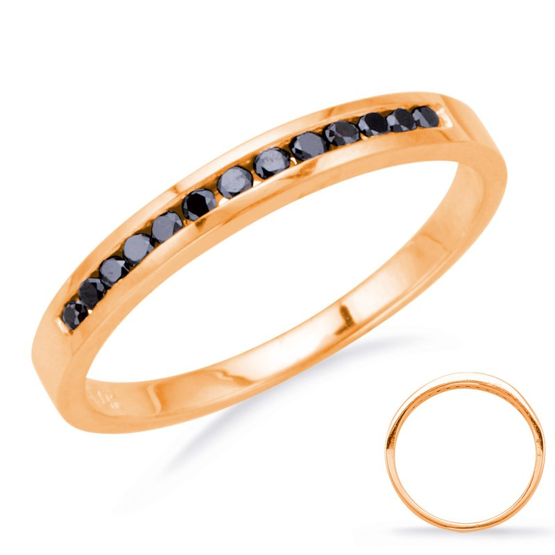 S. Kashi & Sons Bridal Rose Gold Black Diamond Band