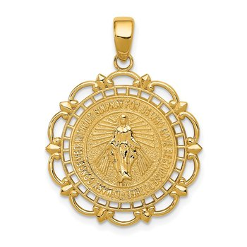 14K Polished Miraculous Medal With Scallop Frame Pendant