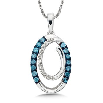 Pave set Blue and White Diamond Swirl Pendant, 14k White Gold  (1/4ct. dtw.)
