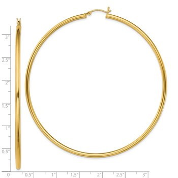 Sterling Silver Gold-Tone Polished 2.5x80mm Hoop Earrings