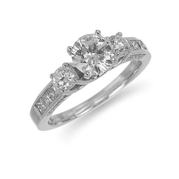 14K WG Diamond Princess and Round Engagement Ring