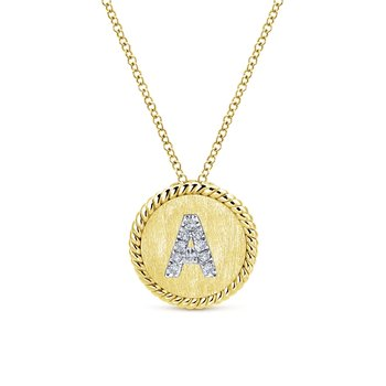 14K Yellow/White Gold Round Uppercase A Diamond Initial Pendant Necklace