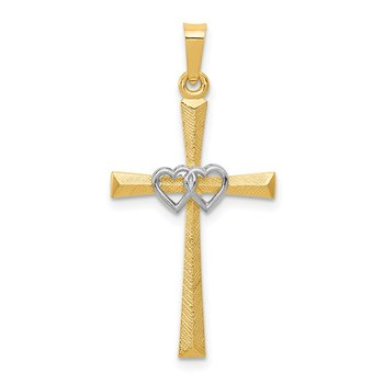 14K Two-tone Textured and Polished Latin Cross w/ Hearts Pendant
