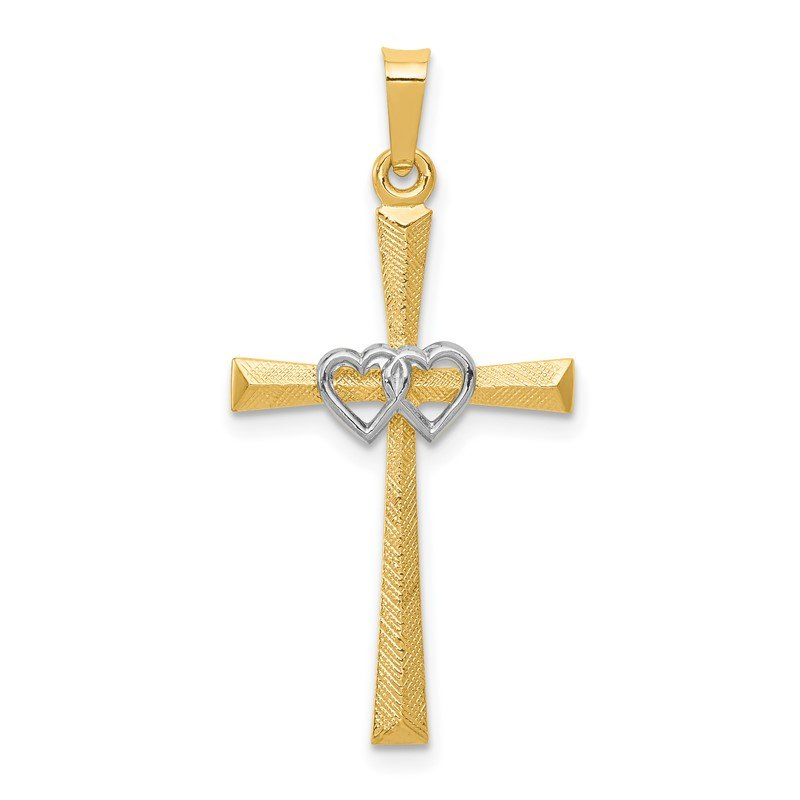 Quality Gold 14K Two-tone Textured and Polished Latin Cross w/ Hearts Pendant