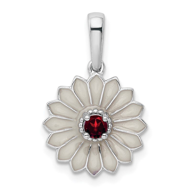 Quality Gold Sterling Silver Garnet and Enamel Flower Pendant