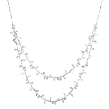 Silver Double Layer Crescent Necklace