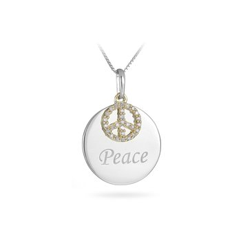 925 Silver and YG Diamond Peace Pendant