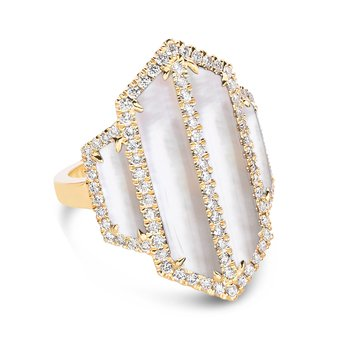 White Orchid Diamond Ring 18KY