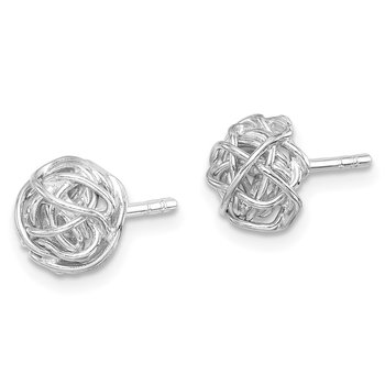 Sterling Silver Rhodium-plated Polished Knot 7.5mm Post Earrings