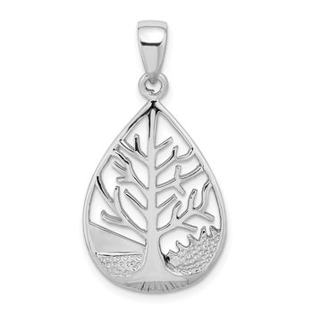 Sterling Silver Rhodium-plated Polished Tree Teardrop Pendant