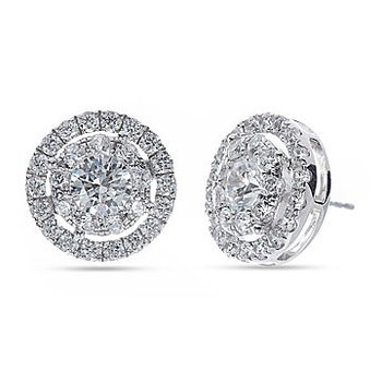 14K WG Diamond Cluster Galaxy Halo Earing in Prong Setting