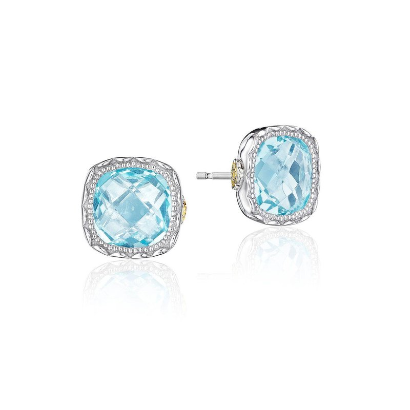 Tacori Fashion Cushion Gem Earrings with Sky Blue Topaz