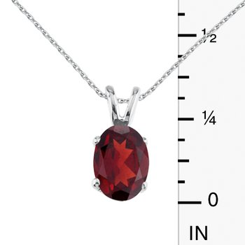 14k White Gold Oval Large 6x8 mm Garnet Pendant