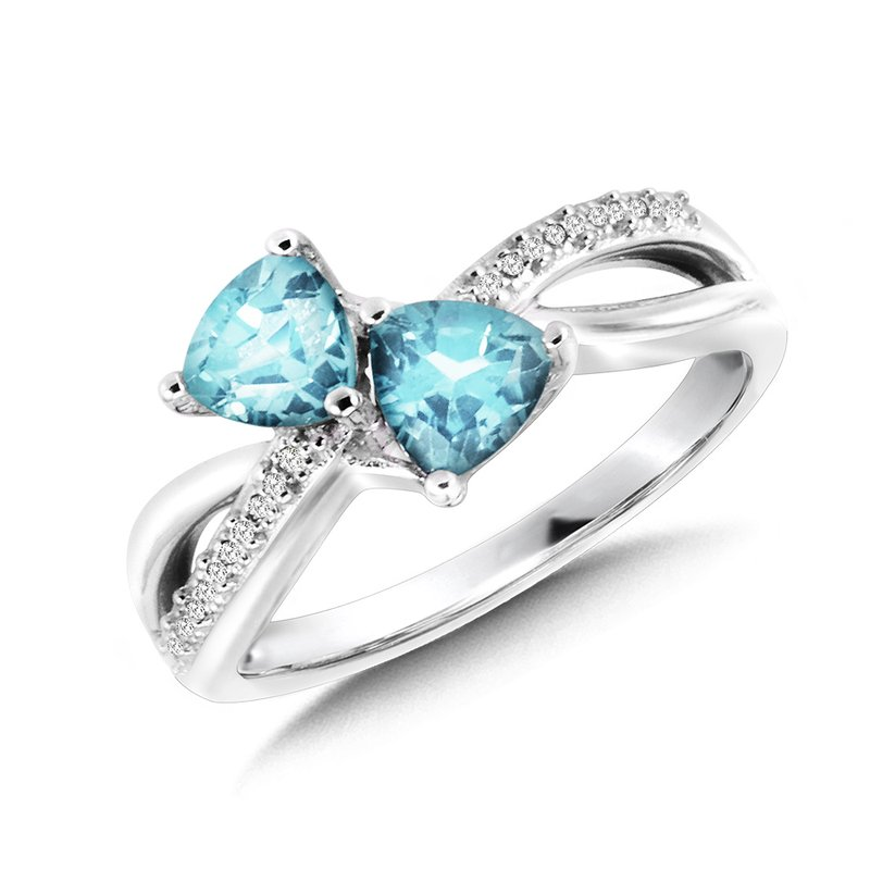 SDC Creations Trillion-Cut  Blue Topaz and Diamond Criss-Cross Ring