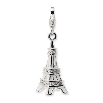 Sterling Silver 3-D Enamel Swarovski Element Eiffel Tower w/Lobster Charm