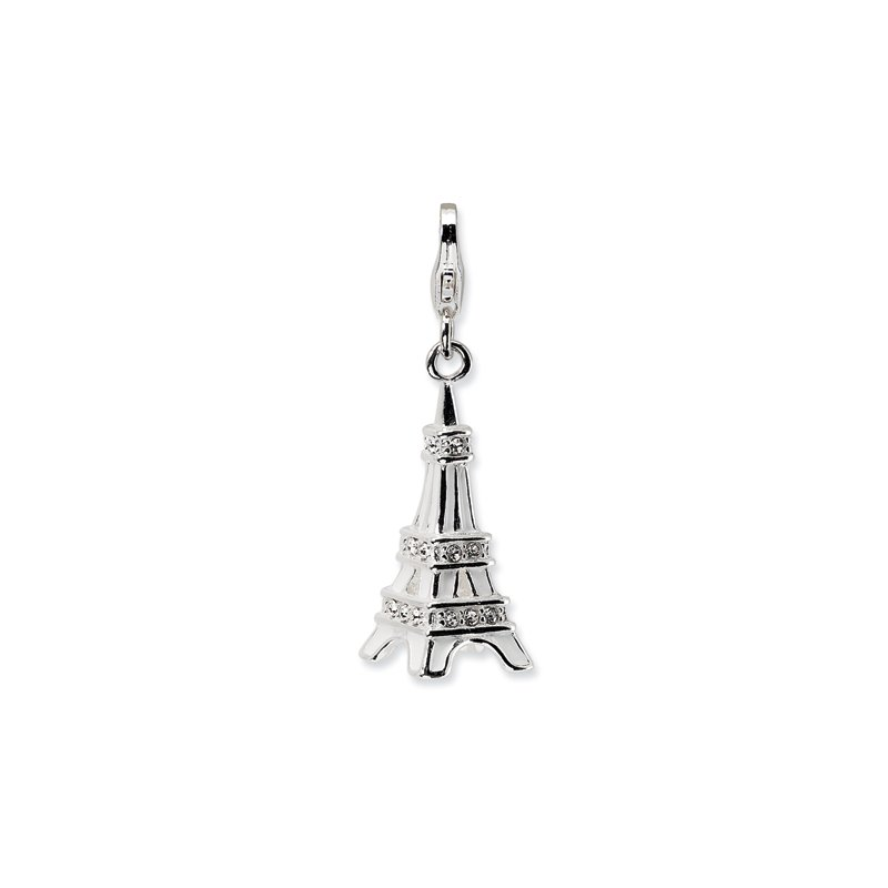 Quality Gold Sterling Silver 3-D Enamel Swarovski Element Eiffel Tower w/Lobster Charm