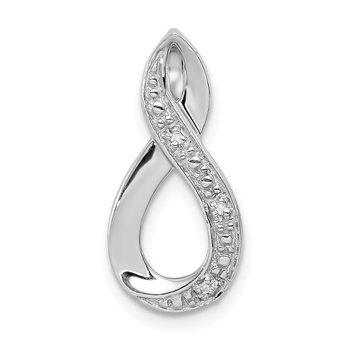 Sterling Silver Rhodium Diamond Figure-8 Chain Slide