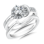 Valina Bridals Mounting with side stones .19 ct. tw., 1/2 ct. round center.