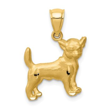14K Diamond-cut Chihuahua Pendant