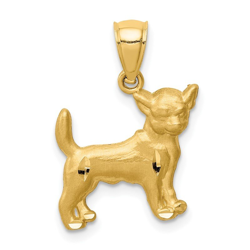 Quality Gold 14K Diamond-cut Chihuahua Pendant