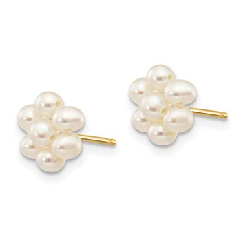 14k 2-3mm White Egg Freshwater Cultured Pearl Flower Earrings