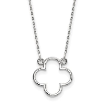 14k White Gold Small necklace Quatrefoil Design
