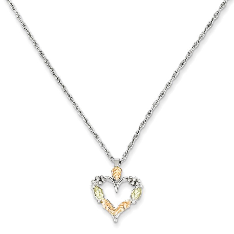 Fine Jewelry by JBD Sterling Silver & 12K Heart Necklace