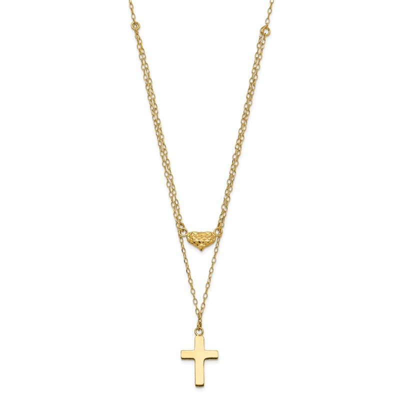 Quality Gold 14k Polished 2-Strand D/C Cross & Heart w/2in. Ext. Necklace