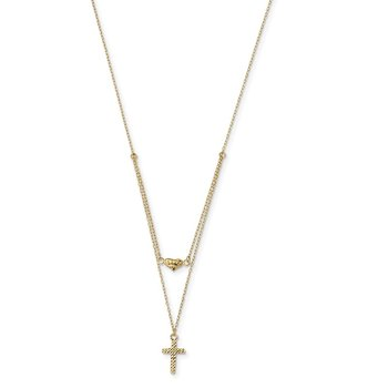 14k Polished 2-Strand D/C Cross & Heart w/2in. Ext. Necklace