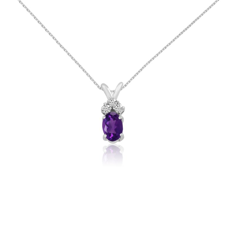 Color Merchants 14K White Gold Oval Amethyst Pendant with Diamonds