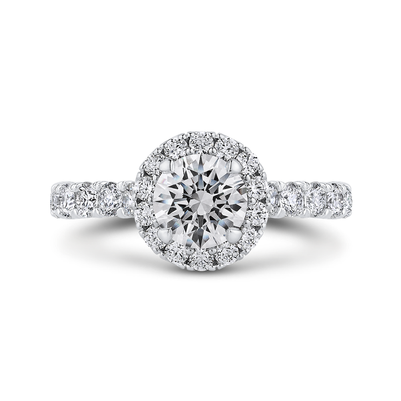 Round Halo Diamond Engament Ring In 18K White Gold (Semi-Mount)