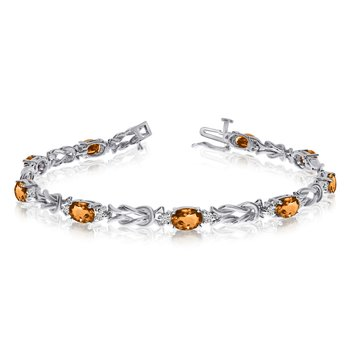 14k White Gold Natural Citrine And Diamond Tennis Bracelet