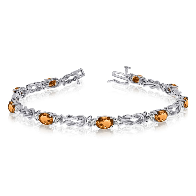 Color Merchants 14k White Gold Natural Citrine And Diamond Tennis Bracelet