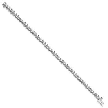 Sterling Silver Rhodium-plated Diam. Fancy Bracelet