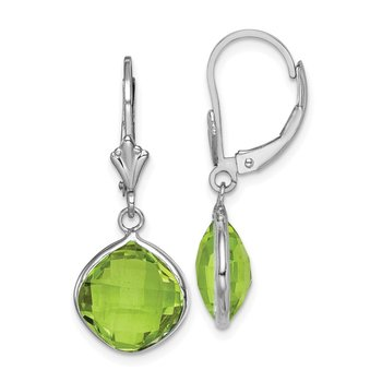 Sterling Silver Rhodium-plated Peridot Dangle Lever Back Earrings