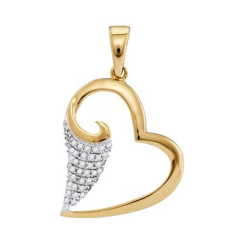 10kt Yellow Gold Womens Round Diamond Scroll Heart Pendant 1/5 Cttw