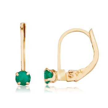 14k Petite Emerald Leverback Earrings