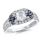 Valina Diamond & Blue Sapphire Engagement Ring Mounting in 14K White/Rose Gold (.38 ct. tw.)