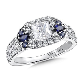 Diamond & Blue Sapphire Engagement Ring Mounting in 14K White/Rose Gold (.38 ct. tw.)