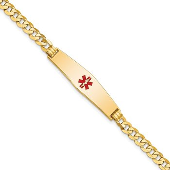 14K Medical Soft Diamond Shape Red Enamel Flat Curb Link ID Bracelet