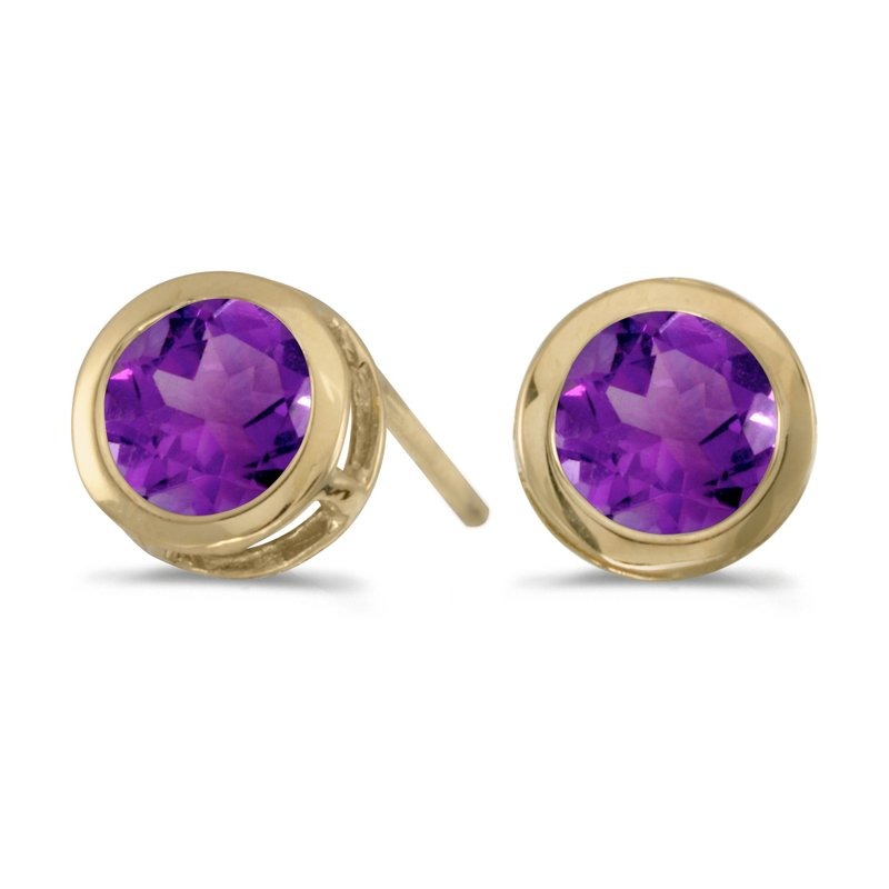 Color Merchants 14k Yellow Gold Round Amethyst Bezel Stud Earrings