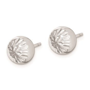 Sterling Silver Rhod-plated Diamond Cut 8mm Ball Post Earrings