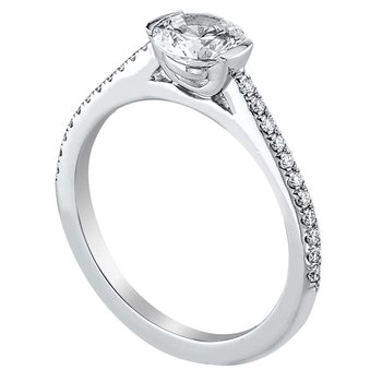 Half Bezel Set Diamond Engagement Ring