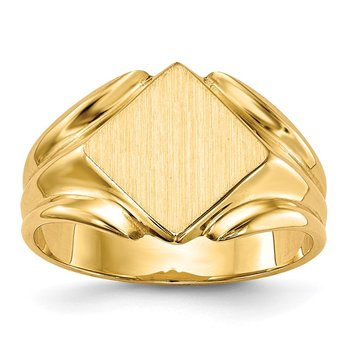 14k 10.5x10.5mm Closed Back Signet Ring