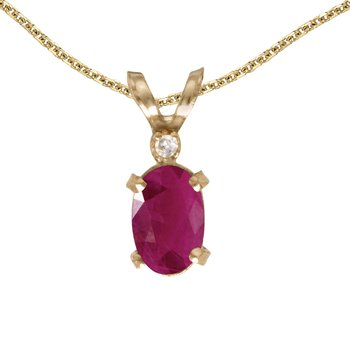 14k Yellow Gold Oval Ruby And Diamond Filagree Pendant