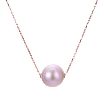 14K Gold Rose Freshwater Pearl Necklace