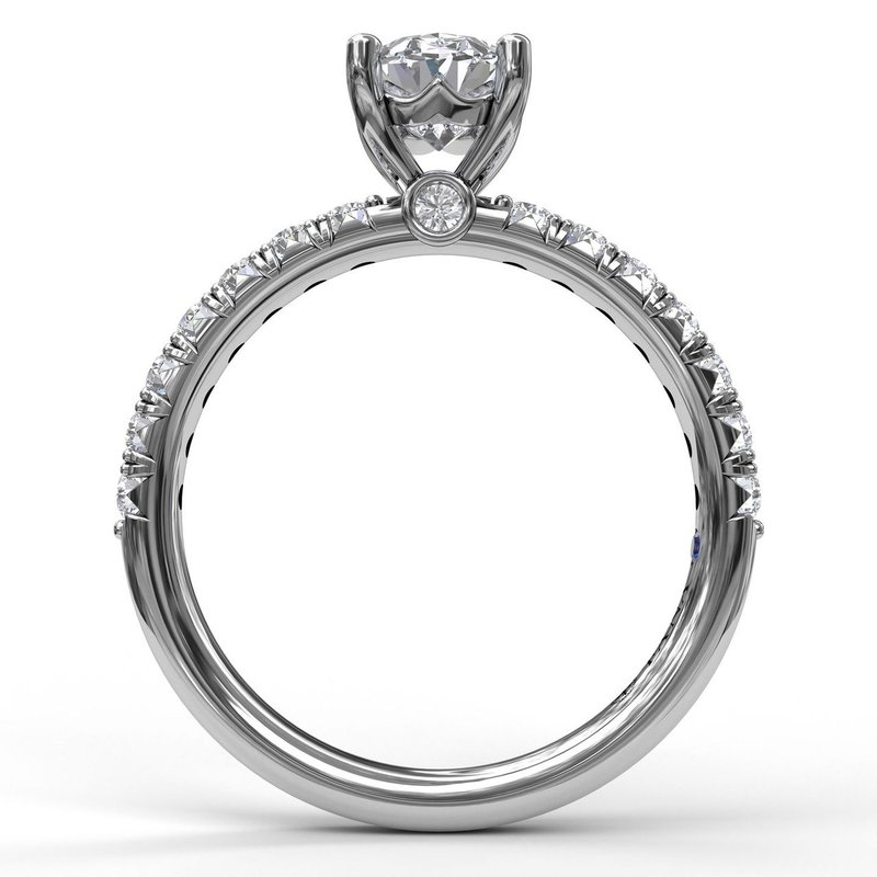 Fana Oval Cut Solitaire With French Cut Pave