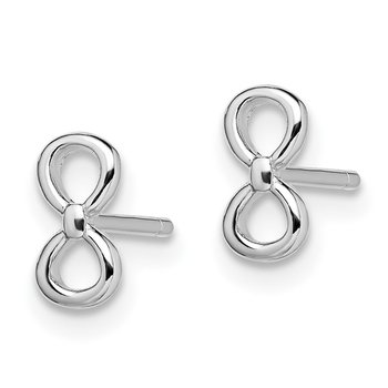 Sterling Silver Rhodium-plated Infinity Post Earrings