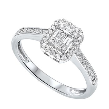 Diamond Rectangular Halo Ring in 14k White Gold (1/10ctw)